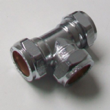 22mm Chrome Plated Brass Compression Equal Tee - 25502200